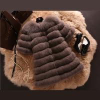 100%  Real Women Fox Fur Coat Luxury Whole Skin Fur Outwear Coats 6XL Long Jacket