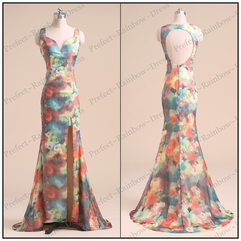 PRD268 Real Sample Beautiful Mermaid Evening dresses Chiffon Split Party gown 2015 Formal Long Flower Printed