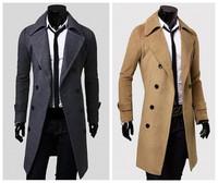 Hotsale Winter Casual Breasted Men's Overcoat Unique Slim Outwear Long Design Double Breasted Wool Men Coat