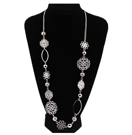 New Fashion Hollow out flower brief all match sweater chain silver long necklace Jewelry TH-N486(China (Mainland))