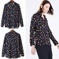 2015 New Fashion Ladies' elegant colored Balloon print blouses turn down collar long sleeve OL shirts casual slim brand tops