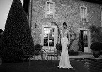 2015 Sexy Deep V Neck Long Sleeve Lace Open Back Wedding Dresses Elegant Mermaid Court Train Berta Bridal Dresses ZY131