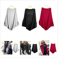 2014 1pc High Quality New Fashion Women's Batwing Cardigans Girl Casual Knitting Shawl cape Outwear, Loose Sweater Coat