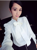 New Spring Women Fashion Puff Long sleeve Solid white color shirt OL Bowknot neck Femininas Blouses Casual Fashion Blusas