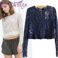 2015 Women Blouses Spring Summer Lace Long Sleeve Crochet Embroidery Blusas Femininas Blouse Shirt Elegant Tops PH2734