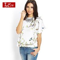 ECW NEW 2015Women T shirt Fashion Loose Chiffon Women Bird Print T shirt Spring Summer Camisetas Femininas women tops