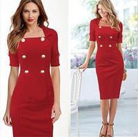 2015 Sexy Vestidos De Fiesta Pencil Elegant Office Work Dresses Women Casual Summer Dress Party Bodycon Dresses Red