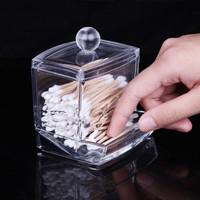 Free Shipping Transparent Plastic Crystal Cotton Pad Storage Box Desktop Acrylic Organizer