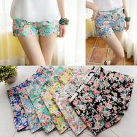 New Design 2015 Fashion Cotton Shorts for Women Flower Pattern Floral Elastic High Waist Women Sexy Summer Shorts WF-90333/Z