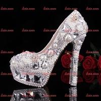 2015 Brand New Fashion Rhinestone Custom Handmade Crystal Shoes Woman Black Leather Solid Drilex Punk Flower Lip Pumps 34-40