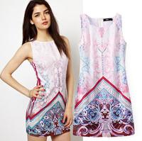 2015 Europe And America Summer New Positioning Printed Sleeveless Dress Round Neck Short-Waisted Women Dress   xjh384