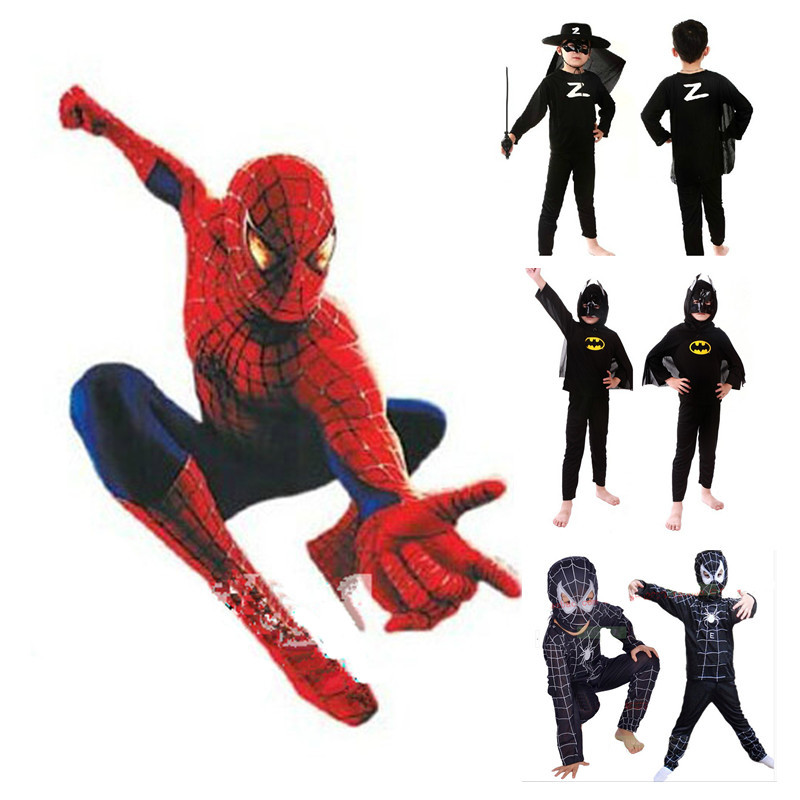 Spiderman Batman Costume for Kids Halloween Carnival Party Costume Supplies S/M/L(China (Mainland))