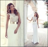 Julie Vino Sexy Beach Wedding Dresses 2014 Shear Bateau Neckline Beaded Embroidery Chiffon Mermaid Bride Dress Bridal Gowns