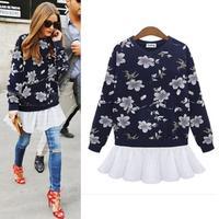 2014 Fashion Clothes Printing Long Sleeve Sweatshirt Women Hoody Tops Hoodies Tracksuits White Chiffon