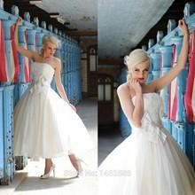 Lace Sweetheart Bow Sashes Tea Length Wedding Dress Ball Gowns 2015 Elegant Bride Dresses(China (Mainland))
