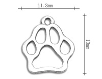 free shipping 50pcs a lot antique silver plated alloy cat pawprint charms jewelry accessory