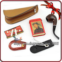 FIREBIRD ! 6-in-1 Classic Smoking Pipe Set 9mm Bigben Filter+ Cleaning Tool+Tobacco Tin box+Genuine Leather Pipe Bag Pouch