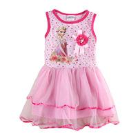 New arrival girls pncess dress children  Europe and America fashion Elsa  printed vest dresses 1107