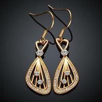 KZCE001-A New Statement Women Drop Earrings Jewelry 18K Yellow Gold Plated Crystal Earrings For Women Elegant Earrings Best Gift