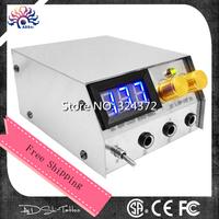 2014 Hot Sale Professional LCD Display digital stainless steel dual Tattoo power supply brand high quality tattoo kit machine &T