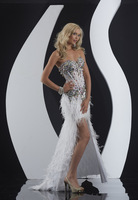 Exquisite Mermaid Trumpet Pageant Dresses Sweetheart Beading Crystal Feather Floor Length Prom Dresses Custom