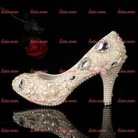 Top Quality Brand Women High Heels Rhinestone Closed Toe Rhinestone Pvc Wedding Mesh Air Mesh Gold Shoes Manufactures Size 34-40