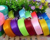 Free shipping 10rolls/lot 2.5cm width wedding/festival decoration satin ribbon single face ribbon,23colors available