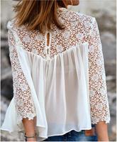2014 Women blouses Shirts Lace Chiffon Blouses Long Sleeve Women Tops lace Shirt Crochet Sexy Plus Size blusas femininas D13