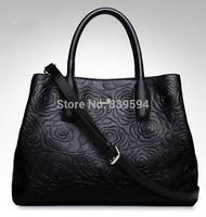 2015 new Korean version of Mobile Messenger embossed leather handbag large black bags