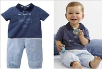 Summer children clothing set baby boy lapel short sleeve T-shirts+pants 2pcs kids casual outfits fit 1-5 age