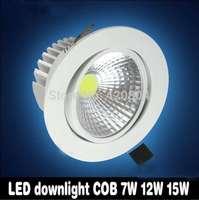 Free shipping1PCS/lot  Recessed led downlight COB 7W 12W 15W LED Spot light led ceiling lamp AC 110V 220V