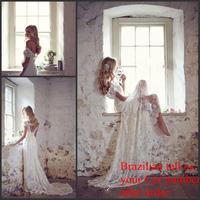 Vestido de noiva New Romantic Soft Sheer Lace Sweetheart Neckline Cap Sleeve Sexy Backless Anna Campbell Wedding Dresses 2015