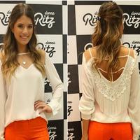 Femininas 2015 New Fashion Women Chiffon Blouses Plus Size Casual shirt Long Sleeve Chiffon Top Blusas Backless Shirts