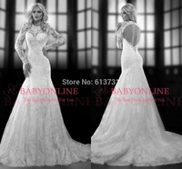2014 New Sexy Long Sleeve Scoop Pleats Lace Applique With Open Back Organza Wedding Dresses Bridal Gowns Free Shipping BSP2320