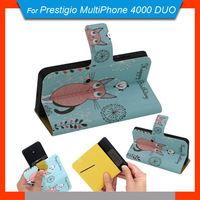 New items Free Shipping 360 Degrees Rotating Cartoon Case PU Universal Stand Case + Free Gift For Prestigio MultiPhone 4000 DUO