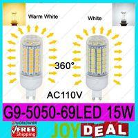 AC110V G9 5050SMD 69LEDs 15W High Quality Bright Corn LED Bulb Wall Lamps Ceiling light White 6500K or Warm White 3200K