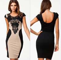 European and American global hot sexy lace crochet tight package hip nightclub dress