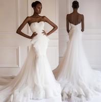 Vestido De Noiva Curto 2014 Fashion Design Appliques Lace Tulle Peplum Mermaid Wedding Dresses With Removeable Long Train