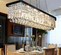 Brief restaurant lights rectangle crystal lamp pendant light modern living room lights led ceiling crystal lighting bar lamps