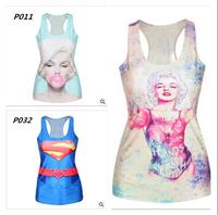 New arrival !2015 Women T shirt Actine T-shirt Lovely Minions Cartoon 3D Print Women Tank top sports top tees 120 models