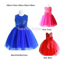 Princess Girls Tutu Dress Children's Wear Party Veil Big Bow Girl Wedding Flower Baby Dress 2015 New