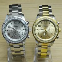 NEW Geneva Casual Women Dress Rhinestone Crystal 3 Small Dials Style Steel Metal Strap Quartz Wrist Watch