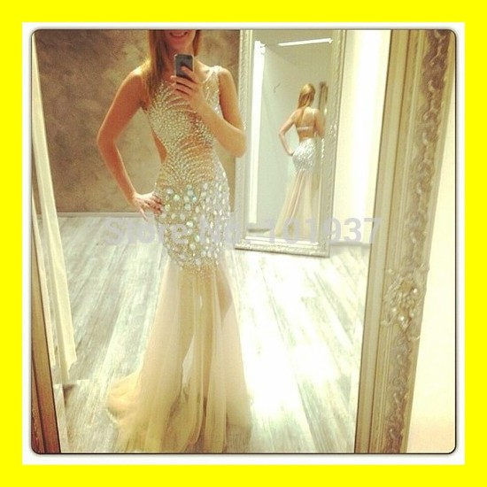 Red Evening Dresses Uk Trumpet /Mermaid Floor-Length Built-In Bra Crystal Sweep Train Scoop Tank Sleeveless Natural Tulle Cotton(China (Mainland))