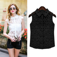 ropean station, Europe and the United States women's sleeveless shirt Lapel fashion Eugen yarn wrapped chest] 7107 [with