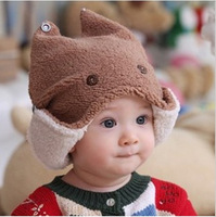 New Arrival 1pc/lot Korean Baby Kids Two-Layer Hat Winter Warm Earmuffs Cartoon Patchwork Bomber Hat FK672852