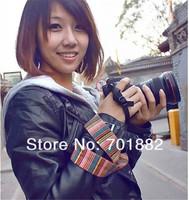 100pcs Camera Shoulder Neck Strap Color stripes Soft for SLR DSLR Camera Free Shipping Wholesale