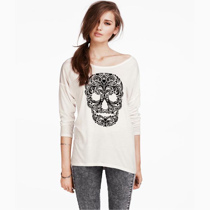 New 2015 spring fashion skull printed casual t shirt long sleeve cotton basic t-shirt tees tops women clothing plus size(China (Mainland))
