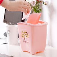 Mini Desktop plastic rocking cover office sanitary household trash barrel mini trash QJ012