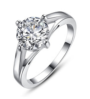 2014 New flash simpie circle four paws rings for women Diamond ring certified doods wedding silver jewelry 939