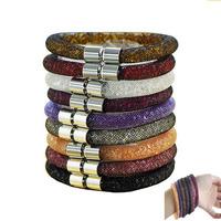 Fashion stardust bracelets mesh chain with full resin crystal bracelets inside magnetic wrap bracelet charm bracelets for women